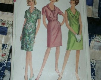 """1960s Simplicity Pattern 6459 Misses Dress in Half Sizes Size 20 1/2, Bust 41"""", Waist 35"""", Hip 45"""""""
