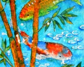 Batik Watercolor Koi Fish Bamboo Tropical by Martha Kisling