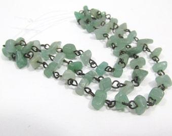 18 inches New Jade Green Aventurine Nugget and Dark Antique Brass Chain