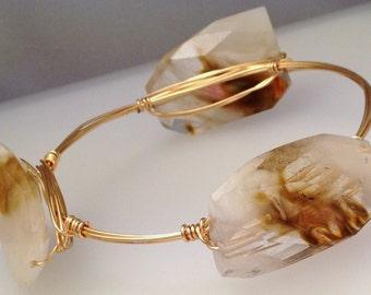 Fire Quartz Gold Wrapped Bangle