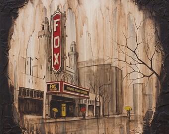 City Art Print, Rain Art Print, titled Fox Theater, Limited Edition Print on Paper