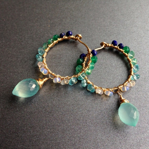 gold gemstone hoops with drops, small size