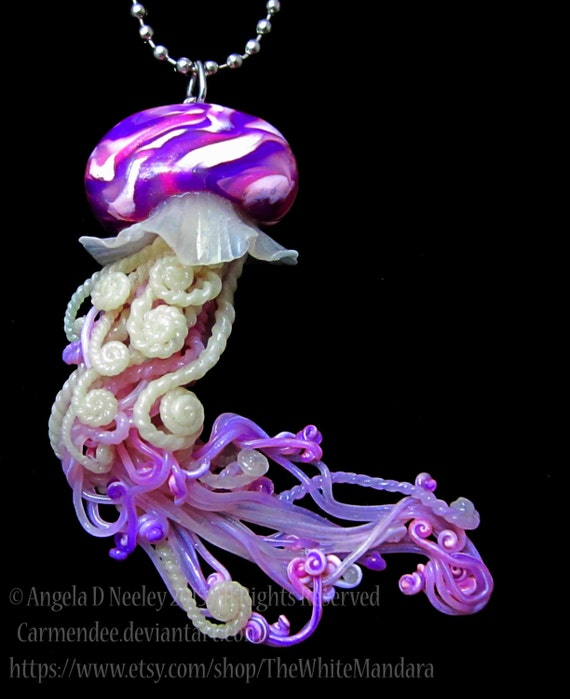 Jellyfish Pendant Pink And Purple By Carmendeedragons On Etsy
