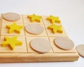 Natural Wood Toy- Organic Toy- Toddler Toy- Classic Game -MOON n STARS Tic Tac Toe Wooden Game- Board Game- Birthday Gift- Waldorf toy