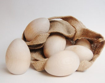 12 Wooden EASTER EGG SET - Solid Natural Wood Eggs and Shopping Bag