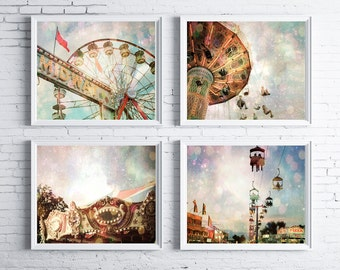 A Carnival In the Sky - FOUR PHOTO Set, photography gift set, surreal carnival photos, baby nursery decor, carnival photography, magical