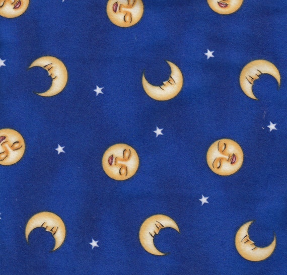 Flannel fabric by the 1 yard celestial stars faces moon night for Celestial fabric by the yard