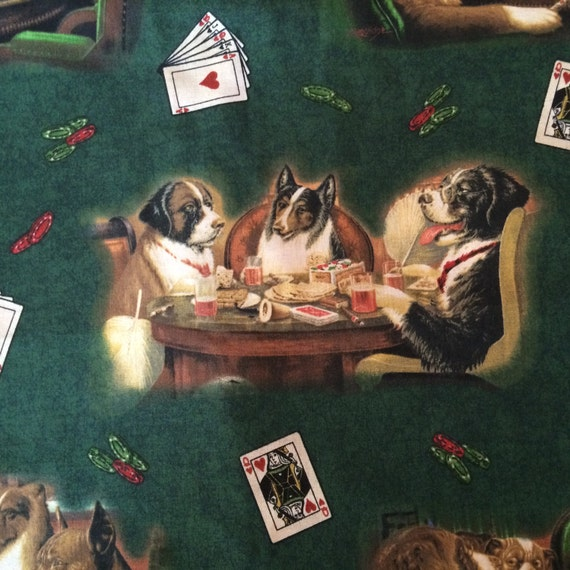 Fabric dogs playing poker sunfly poker chips
