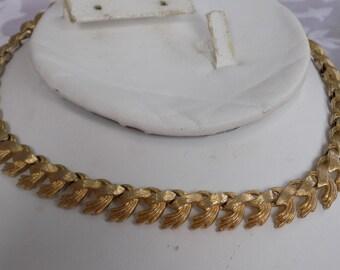 "Vintage necklace, signed ""MONET""  wheat shafts flexible choker necklace, retro jewelry"