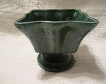 Green vintage ceramic footed planter USA