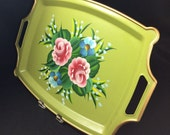 Avocado Green Tole Painted Tray