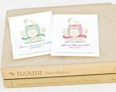 Personalized Baby Shower Bookplates, Childrens Woodland Bookplate Sticker // DROWSY OWL