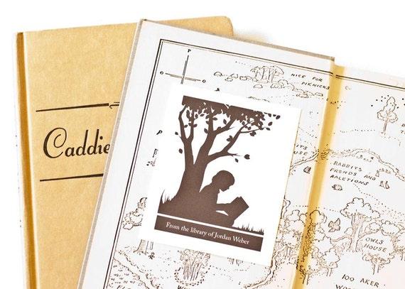 Personalized Bookplates, Custom Bookplate Sticker // SWEET SILHOUETTE