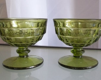 Whitehall Indiana Avocado Green Dessert Cups, Set of Two, Ice Cream Sherbet Cups, Green Cubist Design Cups, Vintage American Glassware