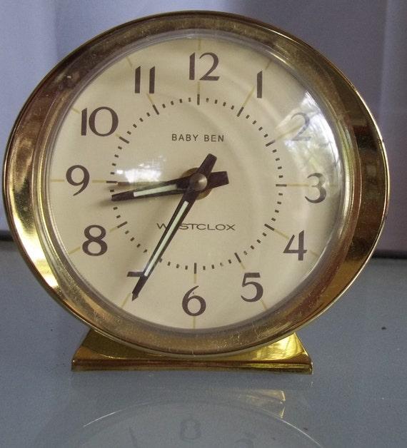 Baby Ben Alarm Clock Vintage Clock Wind Up Gold By