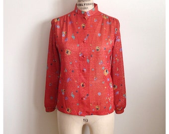 Vintage red abstract GLENAYR blouse