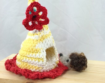 Needle felted baby hedgehog with crocheted play hut, child toy, nursery decor, pocket pet, yellow red white