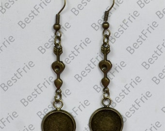 6pcs Antiqued brass Earwires Hook With Round Cabochon Pad,Flower Earrings hook,earrings finding base