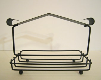 Vintage Small Wire Spice Rack Mid Century Modern Black Metal Hanging Shelf