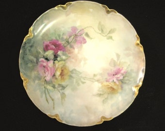 Antique Haviland Limoges Plate Rose Pink Burgundy and Yellow Roses Porcelain Marked