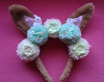 Mint and Brown Bunny Ears