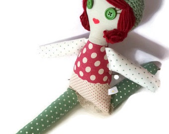 "18"" Rag Doll, Linen Fabric Doll, Green Button Eyes, Soft Toy Doll, Red"