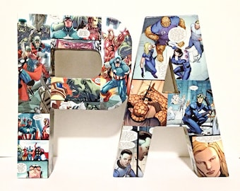 Large Comic Book Letters, Pop Art, Custom Made 12 inch, Pick 2 Personalized