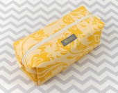 Small Box Bag, Cosmetic Bag or Pencil Case - Yellow