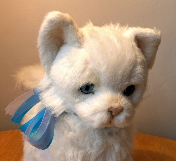 Vintage cat jockline toy white fluffy cat by for Fluffy cat toy