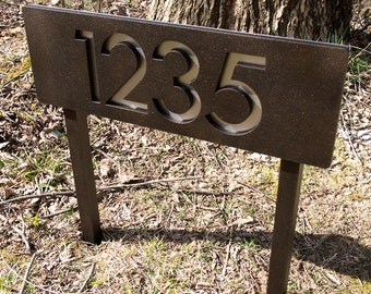 Custom Modern House Numbers Horizontal Powder Coated Aluminum Ground Stakes