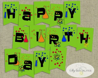 Happy Birthday Science Banner | Pennant, Bunting, Science, Scientist, Experiment | INSTANT DOWNLOAD