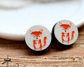 20% off -NEW Unique 3D Embossed  Fox 16mm Round Handmade Wood Cut Cabochon to make Rings, Earrings, ,Necklaces, Bracelets-(WG-127)