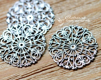 Antiqued Silver  plated RAW brass Filigree  Jewelry Connectors Setting Cab Base Connector Finding  (FILIG-AS-12)