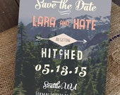 Customized PDF file: Wanderlust Arrow Handwriting Mountain and Forest Adventure Save the Date Postcard by Luckyladypaper - DIY printing