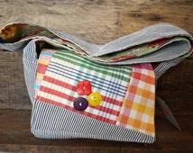 Small messenger bag with vintage fabrics
