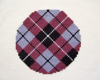 Completed Cross Stitch Argyle Pattern - Hoop Art, Finished Cross Stitch, Complete X Stitch, Round Cross Stitch