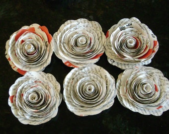 "2""-2 1/4"" spiral book page recycled paper roses with red printing from atlas map guidebook"