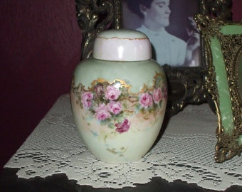 Hand Painted Roses Ginger Jar Porcelain Container