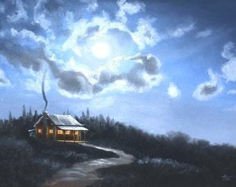 Cabin moonlight scenic landscape 24x36 oils on canvas painting by RUSTY RUST / M-192