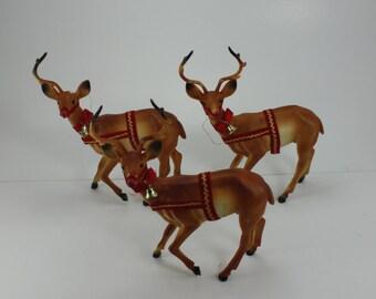 Vintage Plastic Deer Reindeer Figurines 3 Bucks