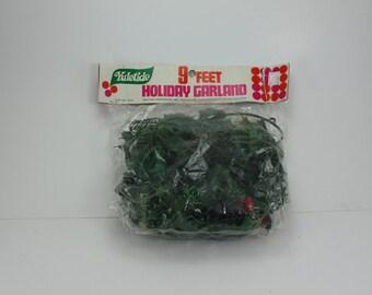 Vintage Plastic Garland Holly Balsam Pine Cones Original Package NOS Yuletide