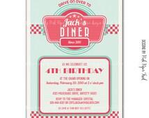 Retro 1950's Diner Themed Invitation v.2 - Digital File - Customizable Wording - Print your own