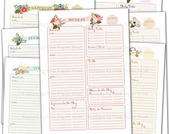 """Shabby Chic Floral Daily Planner - Letter (8.5x11"""") size - Back to Back Printable - Instant Download"""