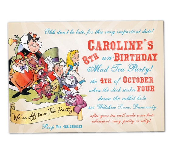 alice in wonderland mad tea party invitation i will customize, Party invitations