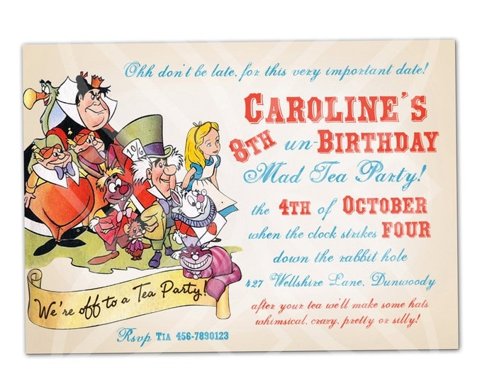 Alice in Wonderland Mad Tea Party Invitation, I will customize for you, Print your own