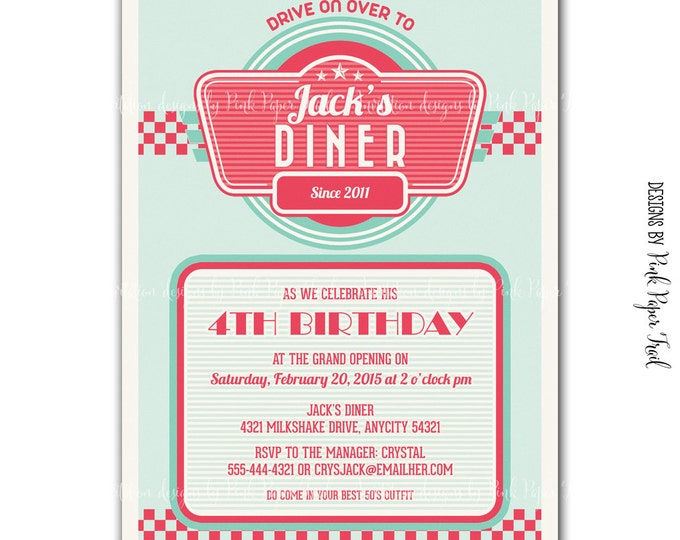 Retro 1950's Diner Themed Invitation v.2, Digital File, I will customize for you, Print your own