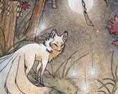 Fox and Wisps / Kitsune Fox Spirit Yokai / Japanese Style Art / 11x14 Print Poster Wall Decor