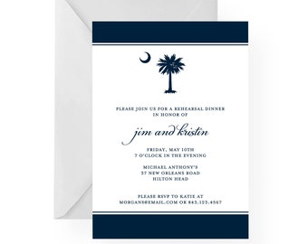 South Carolina Palmetto Moon Rehearsal Dinner, Wedding, Birthday, Anniversary Invitations by Palmetto Greetings