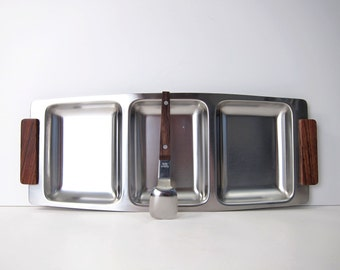 Danish Modern Stainless Rosewood Serving Dish Tray Divided with Spoon - Mid-Century Metal and Wood Platter