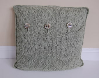 Hand Knitted Pillows by Yvonne, Seed Pearl Knit in Soft Sage